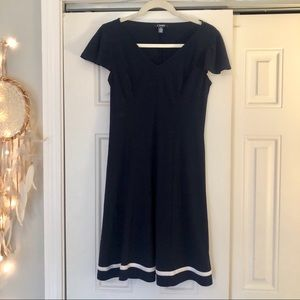 Chaps navy and blue skater dress